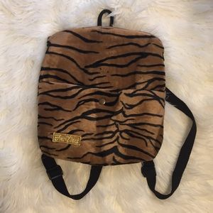 Furry tiger print backpack purse